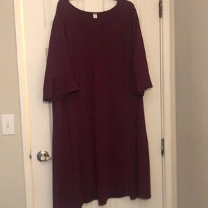 Old Navy Plus Size Fit and Flare Burgundy Dress